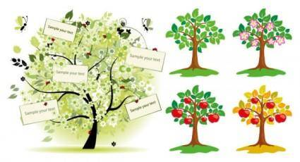 free vector Trees vector illustrations