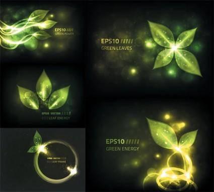free vector Glare green leaves vector