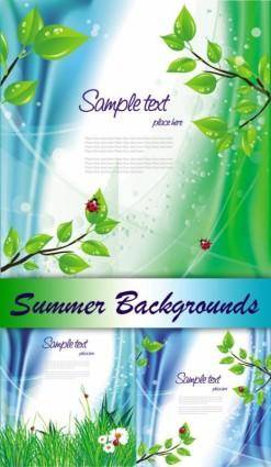 free vector Green ladybug theme vector