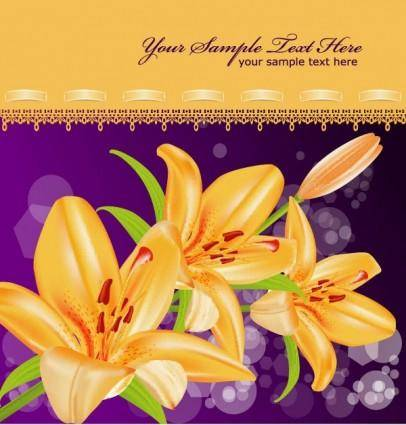 free vector Yellow lily vector 5