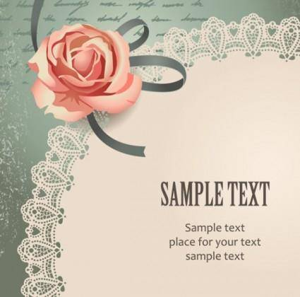 Vintage rose card text template vector 1