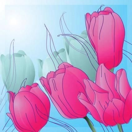 free vector 1 handpainted tulips vector