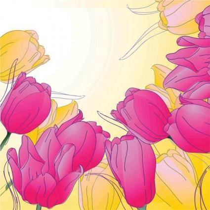 Handpainted tulips vector 4