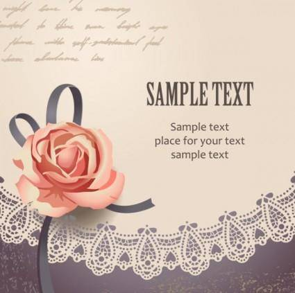 Vintage rose card text template vector 2
