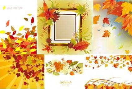 free vector 6 autumn maple leaf border vector