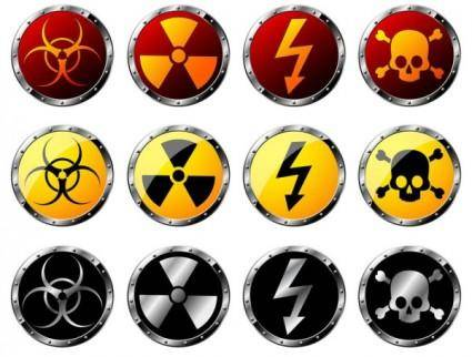 free vector Nuclear radiation hazard warning signs vector
