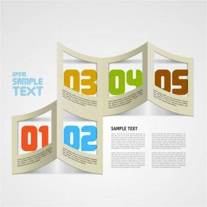 Creative paper folded hollow text template vector 4