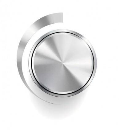 Silver volume knob 05 vector
