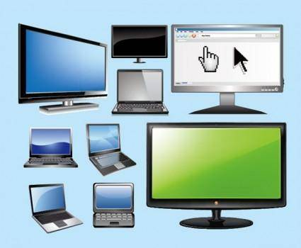 free vector Notebook computers and lcd monitors vector