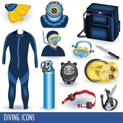 Diving equipment 01 vector