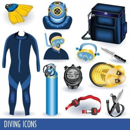 Diving equipment 01 vector