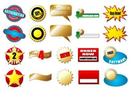 free vector Beautiful stickers 03 vector