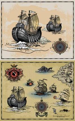 free vector Ancient sailing warships vector