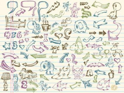 free vector Vector elements of a collection of handpainted 1