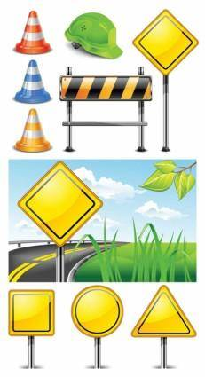 free vector Roadblock signs vector
