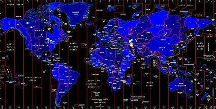 free vector World time zone map identifies the vector