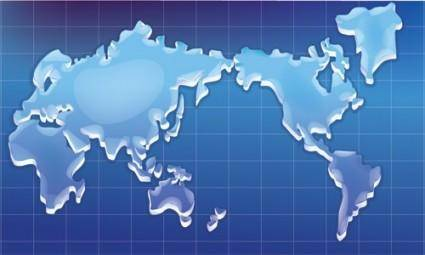 Crystal texture of the world map vector