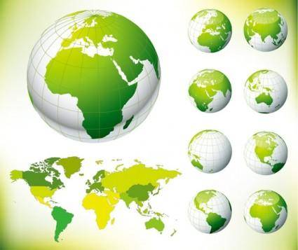 free vector Green earth and the world map vector