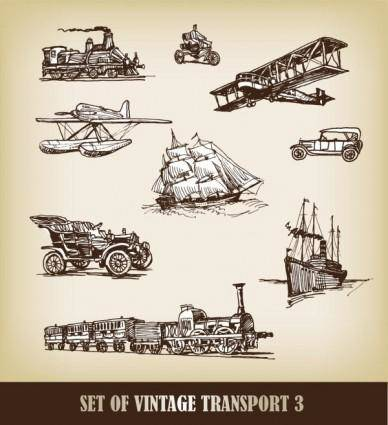 Europeanstyle handdrawn transport carrier 01 vector