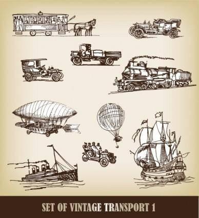 Europeanstyle handdrawn transport carrier 02 vector