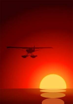 Sunset vector under plane