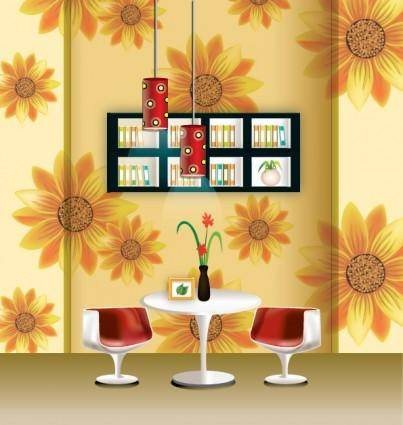 free vector Vector stylish wallpaper chandelier home decor