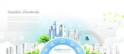 free vector Rainbow garden city community poster template vector 1