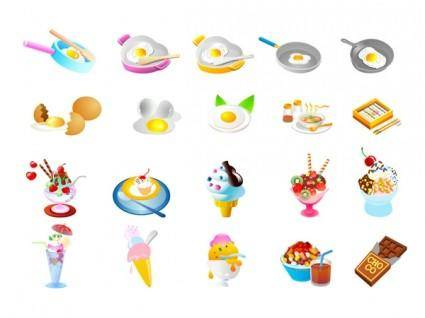 free vector Pan fried eggs and ice cream vector