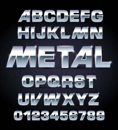 free vector Metal texture font design 01 vector