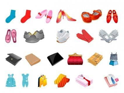 free vector Footwear gloves scarves and other clothes wallet vector