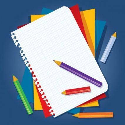 free vector Book and color pencil vector