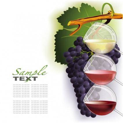 free vector Wine and grapes vector