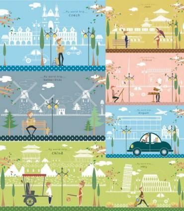 free vector Travel illustrator vector cute