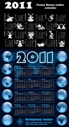 Calendar year of the rabbit 2011 vector