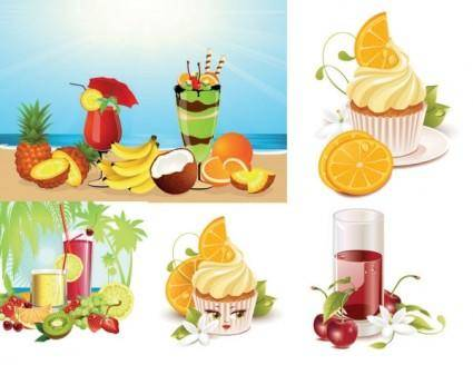 free vector Summer drinks ice cream vector