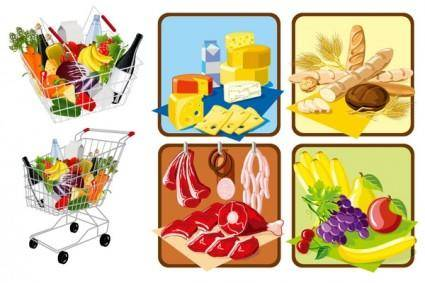 free vector Supermarket shopping theme vector