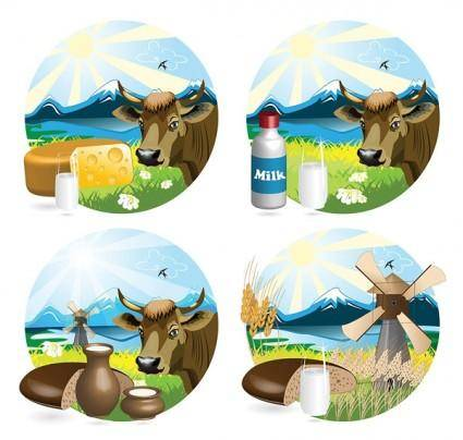free vector Milk theme vector