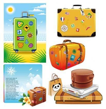 Suitcase theme vector