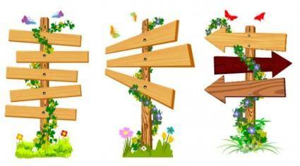 free vector Vine wood signs vector