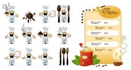 Cook cafe menu vector