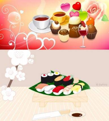 free vector Coffee and cake vector sushi