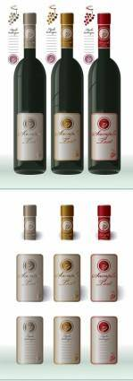 free vector Wine bottles and bottle caps attached vector