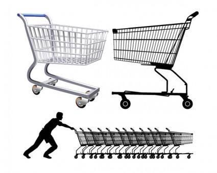 free vector Supermarket shopping cart vector