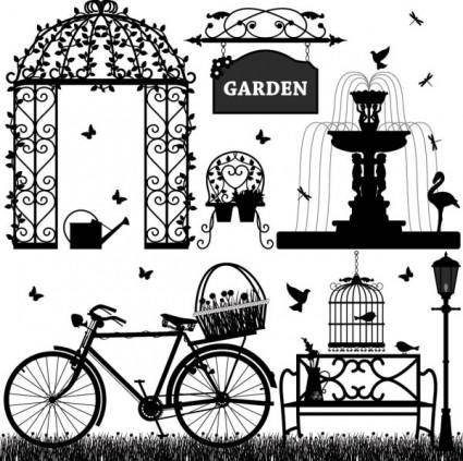 free vector Europeanstyle garden elements vector