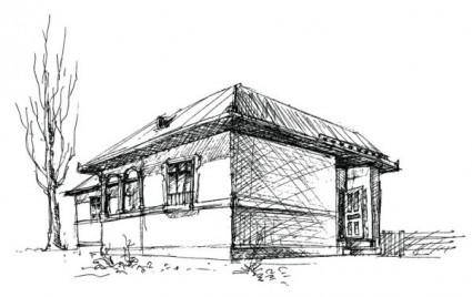 free vector House sketch vector 1