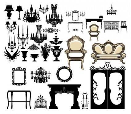 European furniture lighting decoration vector