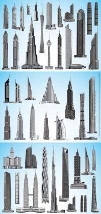 Vector world famous highrise buildings
