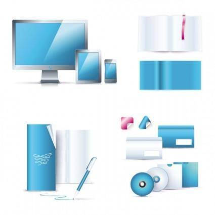 Blue office equipment 01 vector