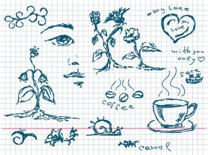free vector Handpainted coffee plants and other elements of vector