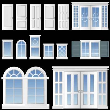free vector Europeanstyle windows and doors vector